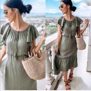Olive green boho off shoulder maxi empire dress